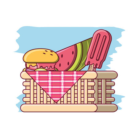 picnic basket with food and fruit over white background colorful design vector illustration Illustration