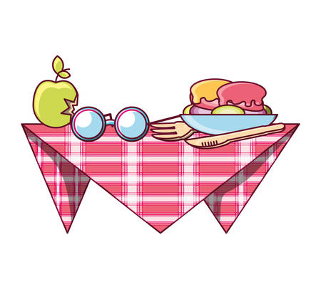 picnic blanket with food and glasses over white background colorful design vector illustration