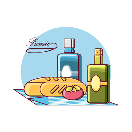 breads and drink bottles over blue and white background colorful design vector illustration