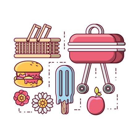 picnic related icons over white background colorful design vector illustration Vectores