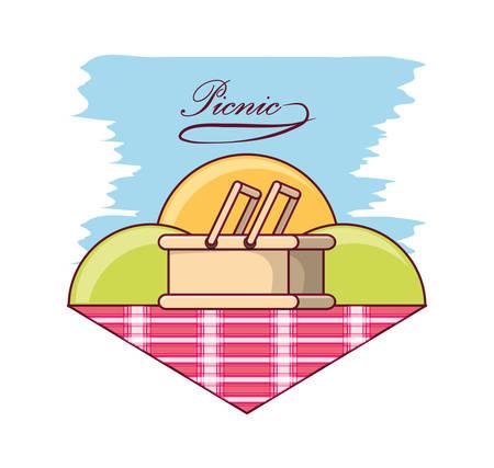 picnic design with baskets on picnic blanket over colorful background vector illustration