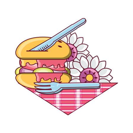 hamburger with fork and knife with decorative flowers over white background colorful design vector illustration