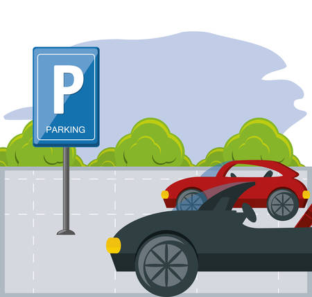 parking zone with parked cars colorful design vector illustration Illustration