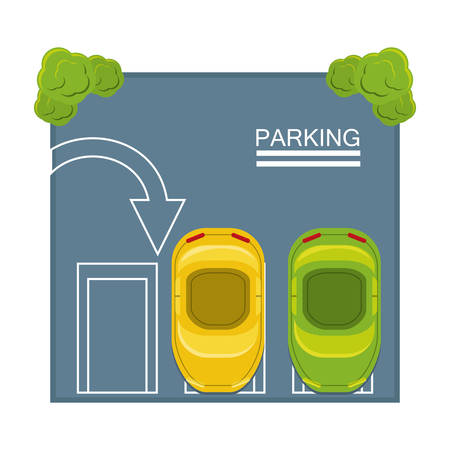 top view of parking lot with parked cars scolorful design vector illustration Stock Illustratie