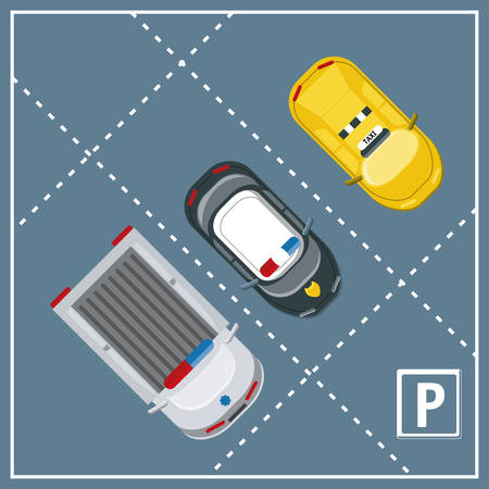 top view of parking lot with parked cars colorful design vector illustration