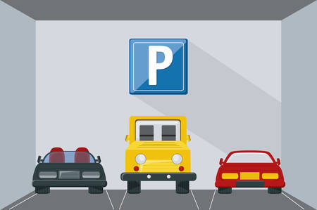 parking basement with parked cars colorful design vector illustration