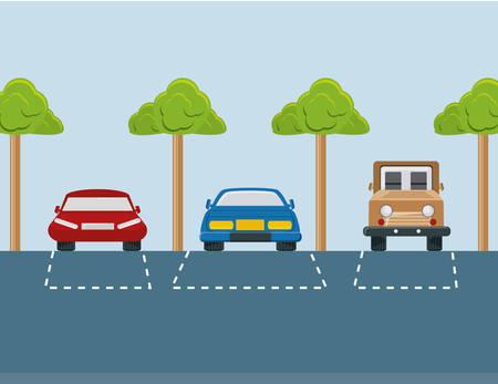parkeerplaats met geparkeerde auto's kleurrijk ontwerp vectorillustratie