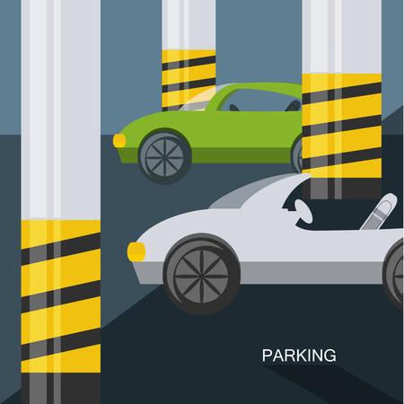 A parking lot design of basement parking colorful design vector illustration
