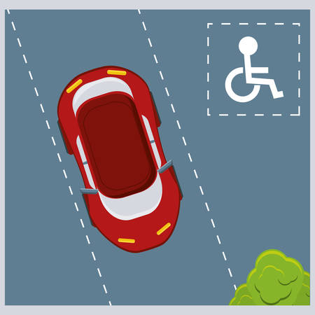 parked car on disabled spot colorful design vector illustration