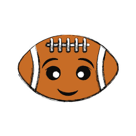 colored  american football  ball over white  background  vector illustration