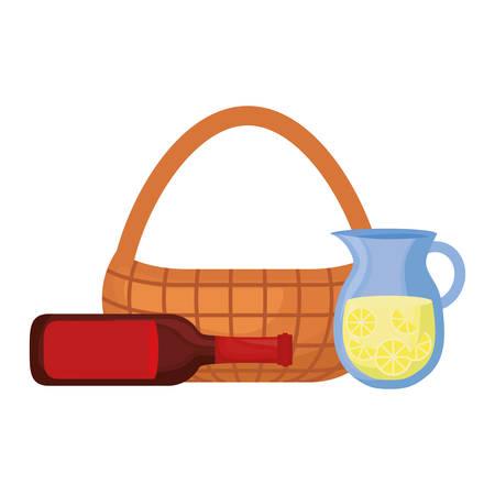 colorful picnic basket beer bottle and juice jar over white background  vector illustration Illustration