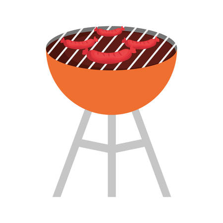 colorful barbecue grill  with sausages over white background  vector illustration