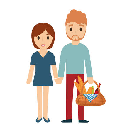 Woman with blonde hair man carrying picnic basket over white background vector illustration.