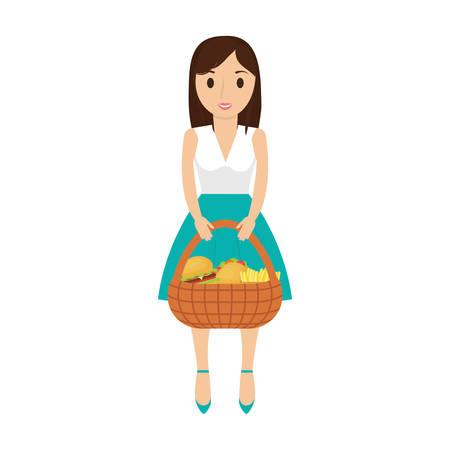 woman  black hair  with picnic basket   over white background  vector illustration Illustration