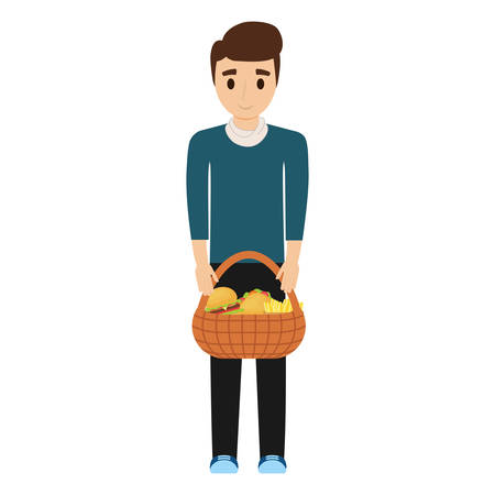 man  black hair  with picnic basket   over white background  vector illustration