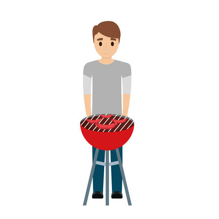 man  light brown hair  with barbecue grill an sausages  over white background  vector illustration