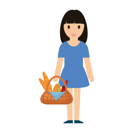 woman  black  hair  with picnic basket   over white background  vector illustration