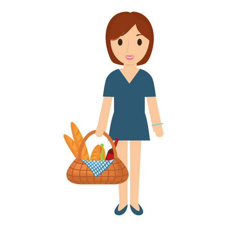 woman  brown   hair  with picnic basket   over white background  vector illustration