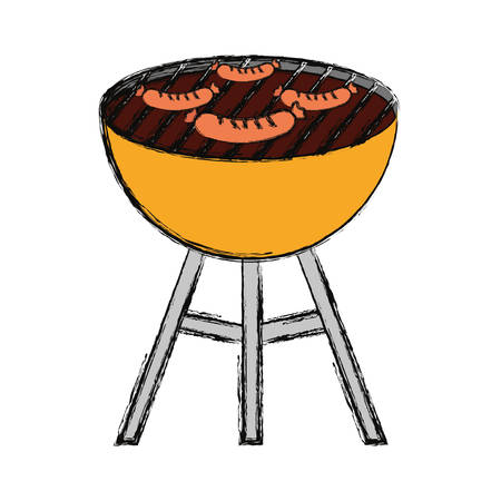 flat line colored  barbecue grill  with sausages over white background  vector illustrationover white background  vector illustration Illustration
