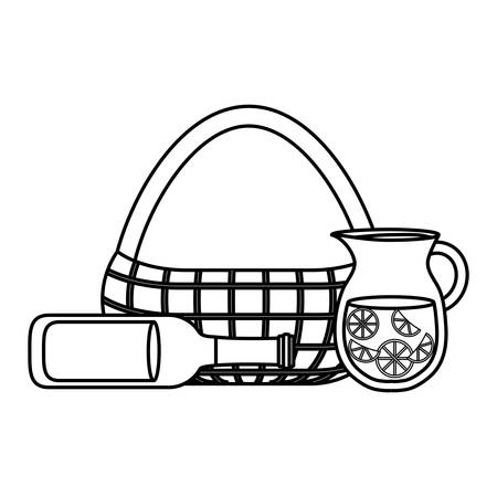 picnic tablecloth with basket and drinks over white background vector illustration