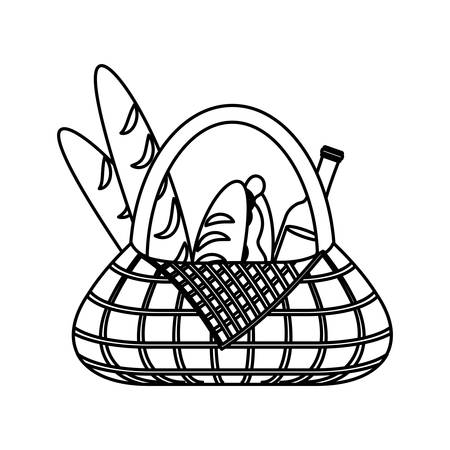 picnic basket with  bread and beer bottle over white background vector illustration Illustration