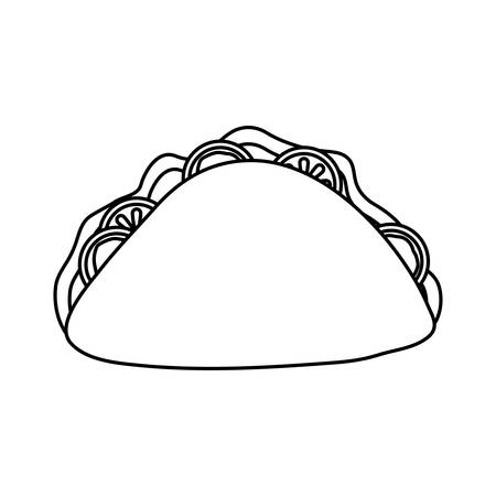 mexican taco icon over white background vector illustration Иллюстрация