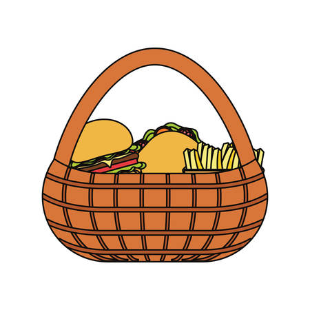 picnic basket with fast food over white background colorful design vector illustration