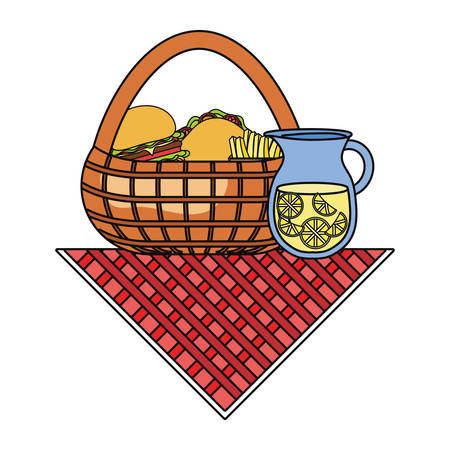 lemonade pitcher and picnic basket with fast food over white background colorful design vector illustration