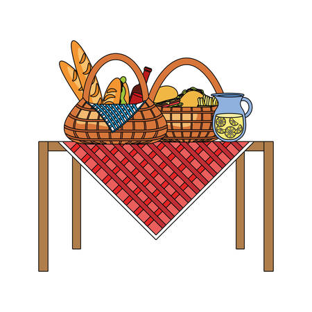 table with picnic baskets with food over white background colorful design vector illustration Illustration