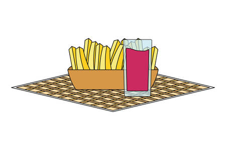 napkin with french fries and juice glass icon over white background vector illustration