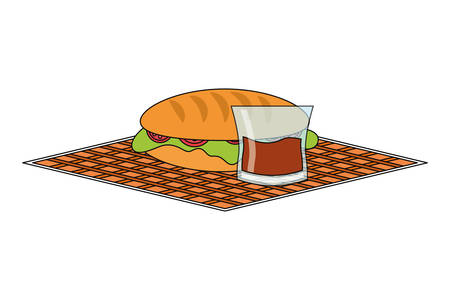 napkin with sandwich with glass with juice over white background colorful design vector illustration Illustration