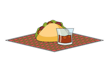 napkin with mexican taco and juice glass over white background colorful design vector illustration Illustration