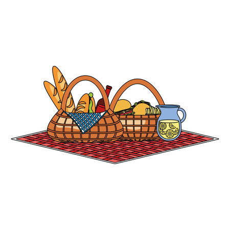 tablecloth with picnic baskets with food and pitcher with lemonade over white background colorful design vector illustration