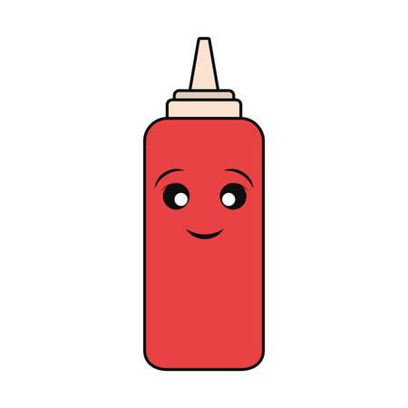 sauce bottle icon over white background colorful design vector illustration
