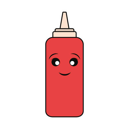 sauce bottle icon over white background colorful design vector illustration