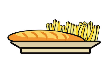 sandwich and french fries over white background colorful design vector illustration