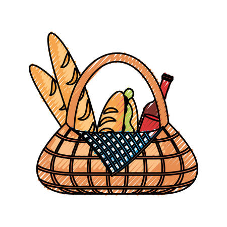 Flat line colored picnic basket with sandwich bread and beer bottle over white background vector illustration.