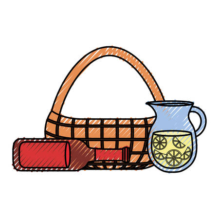 Flat line colored picnic basket with jar juice and beer bootleg over white illustration. Illustration