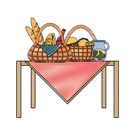 Flat line colored baskets with burger sandwich french fries and jar juice on picnic table over white illustration. Illustration