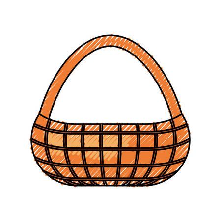 flat line colored  picnic basket doodle   over white  background  vector illustration Illustration