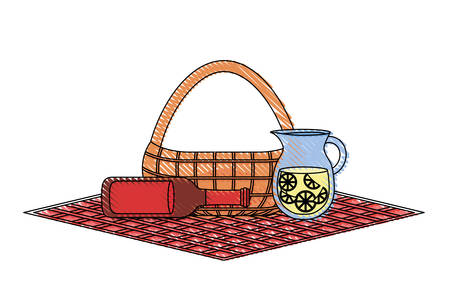 Flat line colored picnic basket with jar juice and beer bottle on tablecloth over white illustration. Illustration