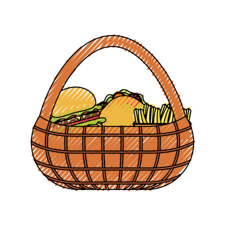 flat line  colored picnic basket  with  burguer sandwich  and  french fries  over white  background  vector illustration
