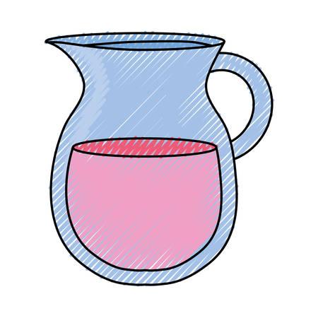 Flat line colored jar juice doodle over white illustration. Иллюстрация