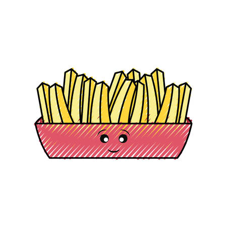 Flat line colored french fries doodle cartoon character over white illustration. Illustration