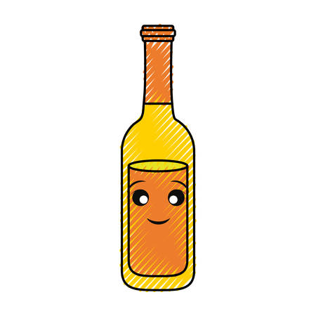 flat line colored kawaii  beer bottle doodle over white background  vecor illustration
