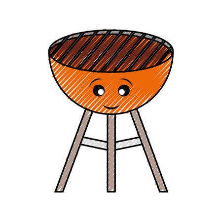 flat line colored kawaii barbecue grill doodle   over white background  vector illustration Illustration