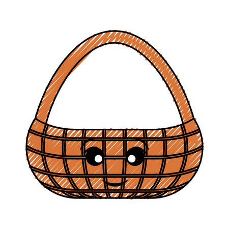 Flat line colored picnic basket doodle cartoon character over white illustration.