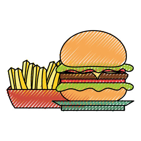 flat line colored burguer and  french fries  doodle over white background  vector illustration