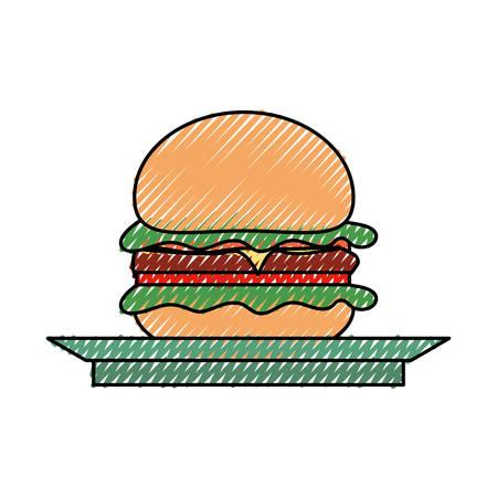 flat line colored burguer on plate  doodle over white background  vector illustration Illustration