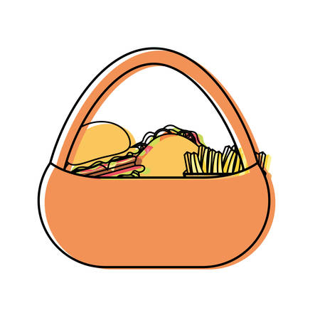 flat line colored picnic basket with burger sandwich and french fries over white background vector illustration Illustration